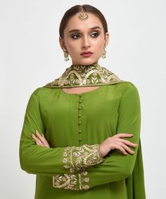 Mehandi Green Gota Patti Work Suit with Dupatta Asian Wedding Dress Pakistani, Pakistani Dress Design, Pakistani Dresses, Indian Dresses, Indian Outfits, Bridal Suits Punjabi, Indian Attire, Embroidery Suits Punjabi, Kurti Embroidery Design