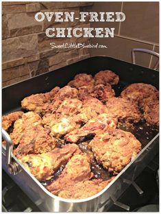 Oven-Fried Chicken!  Super crispy on the outside,  moist & delicious on the inside!  So simple.  So good. Great way to make fried chicken when feeding a big crowd.  | SweetLittleBluebird.com