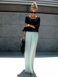 29 Ways to Style Your Maxi Skirts – Fashion Style Magazine - Mint pleated maxi skirt with black crochet long sleeve top