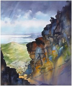 """View from Slieve Binnian"" Mountains of Mourne - Northern Ireland thomas w schaller  watercolor 30x22 inches 03 sept 2104"