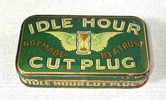 RARE Antique IDLE HOUR CUT PLUG Flat Pocket Tobacco Tin EARLY 1900s