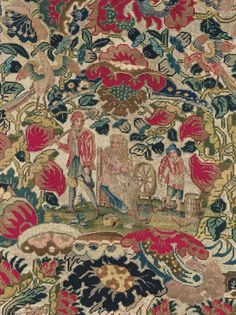Detail of a French silk and wool embroidered door valance, second half of the 17th century