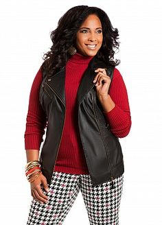 Ashley Stewart: Faux Leather Long Vest