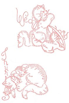 Vintage Embroidery - Cat Family DOW - Wednesday and Thursday