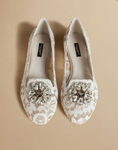 SLIPPER IN TAORMINA LACE WITH CRYSTALS - Slippers - Dolce&Gabbana - Summer 2016