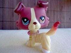 Littlest Pet Shop #1262 Cream & mauve Nintendo Collie Dog RARE blue & gold eye