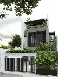 Chau's house |CGI Design: Duy Huynh 893.studio on Behance Minimal House Design, Modern Small House Design, Tiny House Design, Modern Roof Design, Terrace House Exterior, Dream House Exterior, Facade House, Facade Design, Exterior Design
