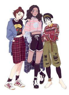 Suki, Katara and Toph in modern clothes.