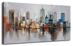 Canvas Wall Art Prints Modern Abstract Cityscape Brooklyn Bridge Painting Stretched and Framed Modern Colorful New York Skyline Buildings Picture for Home Office Decor Original Design Abstract Canvas, Canvas Wall Art, Wall Art Prints, New York Painting, New York Canvas, Bridge Painting, Modern Art Prints, Painting Frames, Brooklyn Bridge