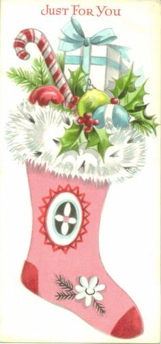 Vintage Christmas Card, Pink Stocking, Just For You, Unused