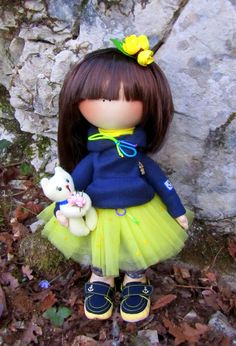 CLOTH DOLL, handmade doll, fabric doll, art doll, custom doll, textile doll, rag doll Gorjuss girl with the kitten