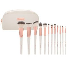 Handle every makeup task like a pro with our Rose Romance 12 Piece Brush Set, a versatile mix of top-quality synthetic face and eye brushes for use with liquids, creams and powders. The comprehensive collection makes color placement and blending a breeze, with brushes ranging from the plushest Powder Brush to the most precise Pencil Brush. Featuring rose gold hardware, brushes come in a chic matching white faux leather zip-top pouch.