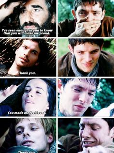 this is why merlin is scared to love people. because everyone he cares about dies... except for gaius.
