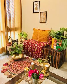 When it comes to decorating my home, I always prefer buying Indian ethnic stuff, and when I saw this contest theme South Indian… Decor Home Living Room, Home Decor Furniture, Diy Room Decor, Bedroom Decor, Paint Decor, Indian Room Decor, Ethnic Home Decor, Indian Home Interior, Indian Interiors