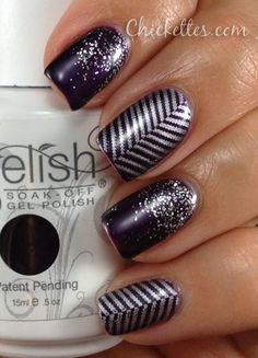 Gelish Nail Art - Zig Zag and Glitter nails... I want to try this!