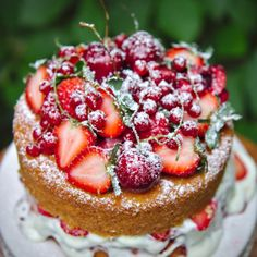A summery twist on Victoria sponge cake, with tangy goat cheese and sour cream!