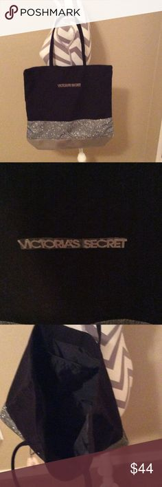 Victoria secret. New tote with tags was $78 Silver gold and black. Victoria secret tote.  With tags. New Victoria's Secret Bags Totes
