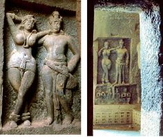 Mithunas, Chaitya-Griha, Karle, 1st century BCE, Maharashtra. Mithunas, or loving couples, are made on the facade of the chaitya-griha at Karle. These yakshas and yakshis are the earliest deities represented in Indian art. They present the fruitful abundance of nature. This is maya, which we must leave behind at the gateway in order to proceed towards true knowledge.
