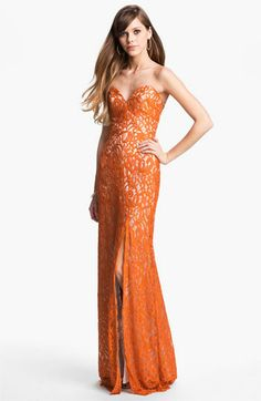 Gorgeous Dalia MacPhee Strapless Lace Gown style 1036 available at Neiman Marcus