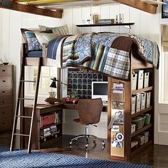 PB loft bed for $1700.  Was inspiration for Ana White version.   Sleep + Study Loft #potterybarnteen