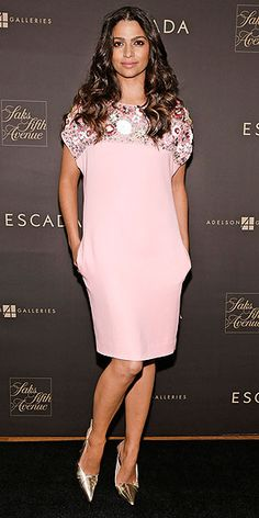 CAMILA ALVES At the Escada Meets Thilo Westermann collection launch in N.Y.C., Camila chooses a perky pink option from the brand's Spring/Summer 2015 collection, pairing the breezy, bejeweled dress with her signature curls and metallic slingbacks.