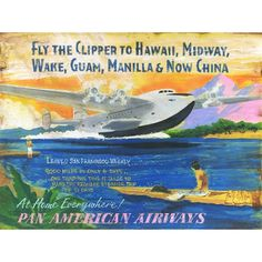 Pan Am Clipper to Hawaii - Vintage Sign