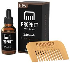Beard Oil and Beard Comb kit with FREE Beard Care eBook - Unscented Organic Leave in Softener, Conditioner and Beard Growth - Natural for Men - Prophet and Tools
