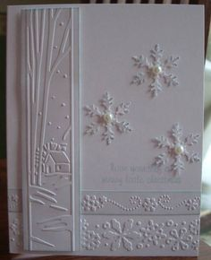 My Stamping Addiction: Cuttlebug Winter Borders Embossing Folder Set Homemade Christmas Cards, Christmas Cards To Make, Xmas Cards, Homemade Cards, Handmade Christmas, Holiday Cards, Christmas Tag, Snowflake Cards, Snowflakes