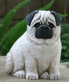 WOOD Carved PUG DOG Sculpture Original Art Carving