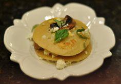 ... Fried Mushroom Gorgonzola Pancakes with Gorgonzola Cream Sauce and