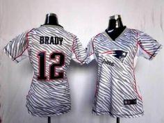Womens NFL Nike New England Patriots #12 Tom Brady 2012 Zebra Fashion Jersey