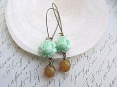 Mint Rose earrings Beige Opal earrings by HappyTearsbyMicah, $13.00