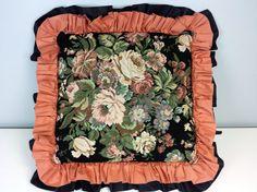 Large Vintage Floral Decorative Pillow Rose Design by CurioBoxx