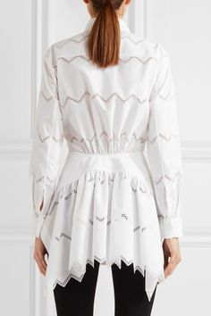 Alaïa - Laser-cut Cotton-blend Shirt - White - FR