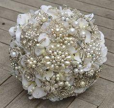 medium pearl heirloom brooch bridal bouquet -- made to order wedding bouquet. $240.00, via Etsy.