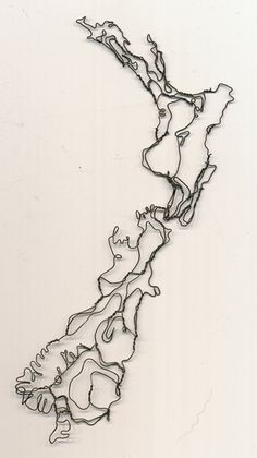 Very cool sculpture... New Zealand map wire sculpture by Elizabeth Berrien