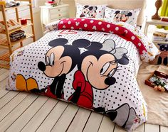 b84fe13ed1 Twin Queen Size Red Mickey and Minnie Mouse Theme Duvet Cover Bedding Set-  TWIN SIZE