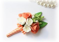 Items similar to Grooms Boutonniere With Orange Roses, White Apple Blossom And Viburnum, As Seen On Famous Russian Fashion TV Show on Etsy Wedding Wishes, Diy Wedding, Dream Wedding, Wedding Ideas, Wedding Bells, Corsage And Boutonniere, Groom Boutonniere, Boutonnieres, Wedding Colors