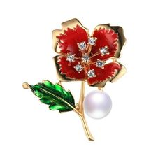 Dainashi Vintage Red Flower Brooch Pins,Pearl Rhinestone Brooch,Silver/Gold/Rose Gold Color Brooches for Women Jewelry Gifts