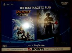 PS4 RATCHET CLANK & UNCHARTED 4 A THEIF'S END ONLY ON PS PROMOTIONAL POSTERBOARD #Sony