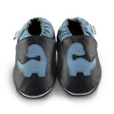 Snuggle Feet – Suaves Zapatos De Cuero Del Bebé Dinosaurio Azul (12-18 meses)