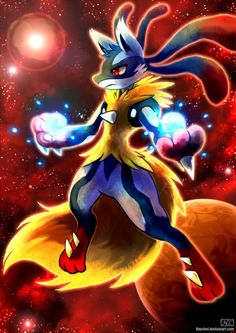 Mega Lucario by Haychel.deviantart.com on @deviantART - I wish this pokemon was stronger than it is because I'm so attached to mine Pokemon Gif, Pokemon Memes, All Pokemon, Pokemon Fan Art, Pokemon Fusion, Pokemon Cards, Mega Lucario, Lucario Pokemon, Charizard