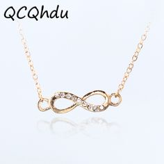 1PC Infinity Symbol Pendant Necklaces for Women Choker Lucky Number Eight Geometric Silver Gold Color Long Chain Necklace  Price: 0.09 USD