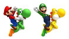 Mario and Luigi on Green and Yellow Yoshi Super Mario Brothers, New Super Mario Bros, Super Mario Birthday, Mario Birthday Party, Super Mario Party, Super Mario World, Bolo Super Mario, Mario Y Luigi, Pokemon