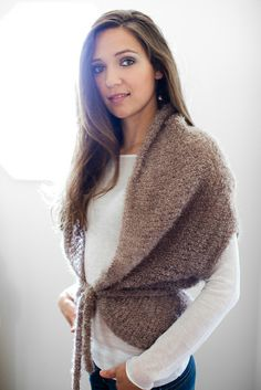 Free knit wrap-vest pattern. This is just lovely. Free pattern Go to; pinterest.com/... for  2500 and more FREE knit patterns