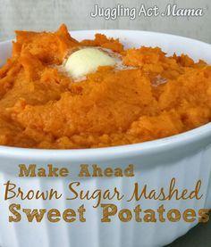 Make Ahead Brown Sugar Mashed Sweet Potatoes via Juggling Act Mama