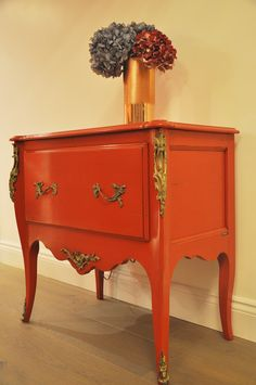 Roche Bobois dresser in Orange distressed and bronze