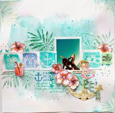 #Papercraft #Scrapbook #Layout. by Carole of Little moments in my life: Une page avec les tampons Méli Mélo!  with méli-mélo stamps!!! www.bymelimelo.etsy.com