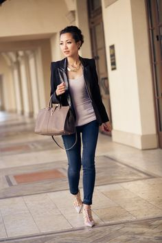 black blazers for women   ... my structured blazer with dark blue jeans and beige color accents