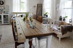 ruokailuhuone, ruokapöytä, diy, rustiikkinen